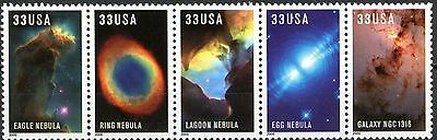 Hubble Galaxies Attached Strip of 5 MNH Stamps Scott's 3384 to 3388 or 3388A