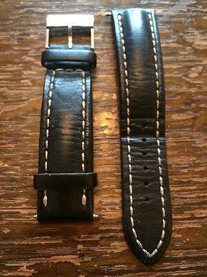 Genuine Breitling calf leather 22 20mm black leather strap and buckle -