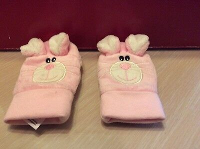 Gorgeous Pink Rabbit Baby Girl Mittens, Age 6-12 Months, From Cherokee