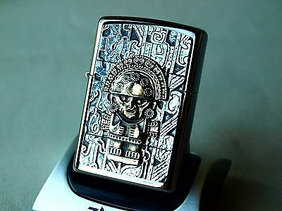 ZIPPO Lighter - AZTEC - Two tone GOLD and CHROME ZIPPOS ZIPO ZIPOS BRASS mayan