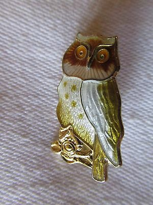 Small Sterling Silver and Enamel Owl Brooch Pin Norway