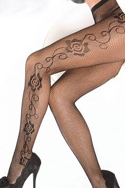 Woman's Black Fishnet Pantyhose Tights With Rose Pattern. One Size. UK Seller