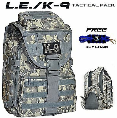 K9 POLICE Molle Pack L.E K-9 Unit MILITARY Tactical Backpack Duty Bag +FREE Item