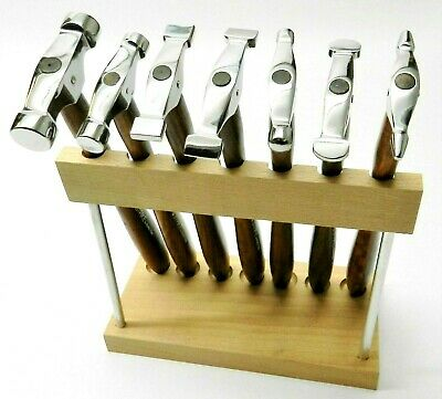 7 Piece HAMMER SET WITH WOOD STAND Jewelry Making Tool METAL FORMING TEXTURING