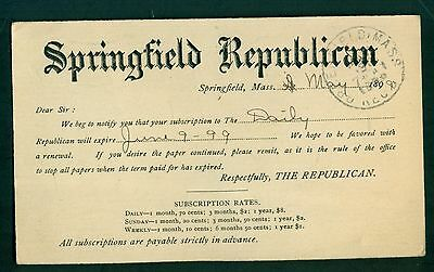 1899 The Springfield Republican Subscription Postal Card - Springfield,MA