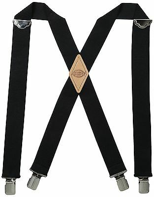 Dickies Men's 1-1/2 Solid Straight Clip Suspender Black One Size