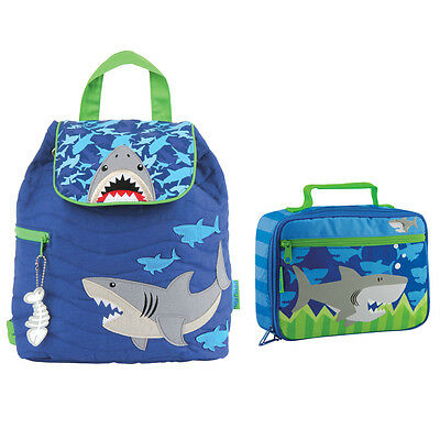 Stephen Joseph Boys Quilted Shark Backpack and Lunch Box for Kids - Book Bags