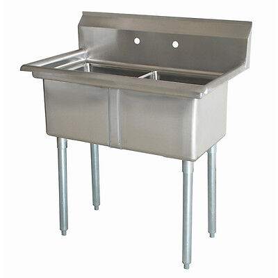 "Commercial Stainless NSF 2 Compartment Sink 16"" x 20"" x 12"""