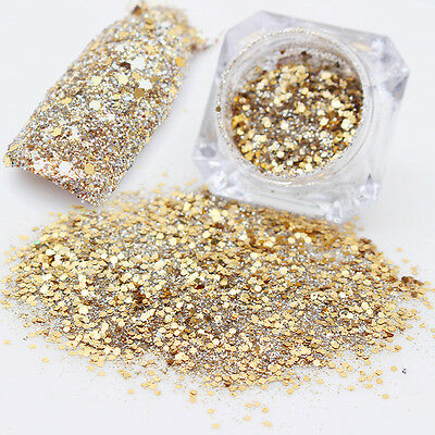 2 Boxes Nail Glitter Powder Dust Acrylic UV Gel Manicure Tips Champagne Gold