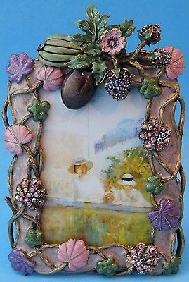 Jay Strongwater Flora & Fauna Enamel W/Crystals Picture Frame