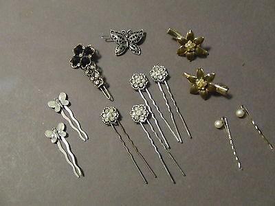Lot Of 12 Vintage Rhinestone Hair Pins And Barettes Costume Jewelry