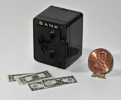 Dollhouse Miniature Bank Safe with Money Carradus Minis 1:12  Scale