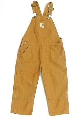 CARARTT Kid's Boys Brown Washed Duck Bib Overall Size 3T NWT
