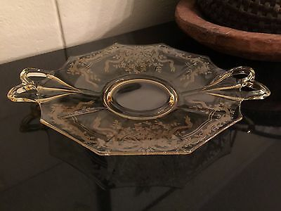 Topaz Fostoria June Etched Cheese & Cracker Plate Yellow Depression Glass
