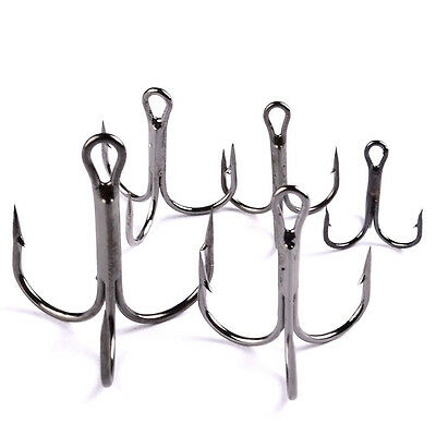 NEW 100pcs Fishing Hook Sharpened Treble Hooks 7 Size 2/4/6/8/10 Fishhook Tackle