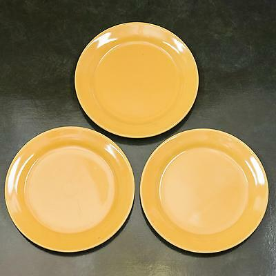 "Bauer California Pottery Glossy Yellow 9.4"" Dinner Plates Vintage MCM (Lot Of 3)"