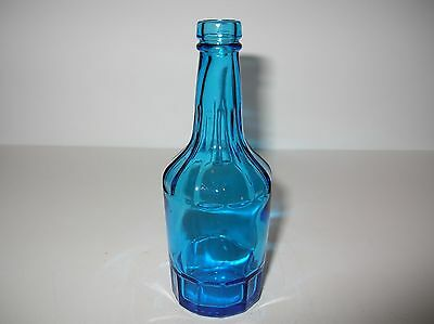 "Wheaton Blue Glass Bottle 6"" With Vertical Ribs"