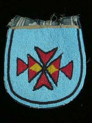Fully Beaded Antique Vintage Crow Indian No. Plains Montana Pouch - Nr !
