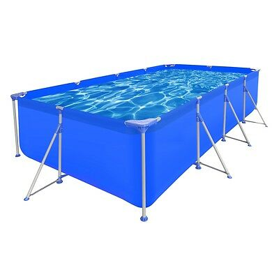New 394x207x80cm Above Ground Rectangular Swimming Pool Steel Frame Outdoor Spa