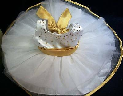Build A Bear - White Party Dress with Gold Trim J-30