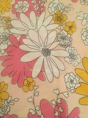 Vintage TWIN FLAT SHEET Flower Power PINK Yellow Cannon MONTICELLO Floral Mod