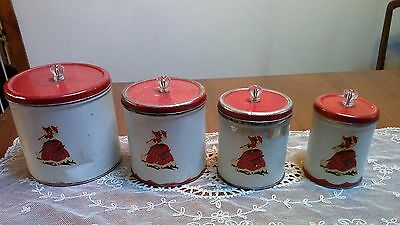 Vintage Canister Set with glass knobs - Ladies with parasols