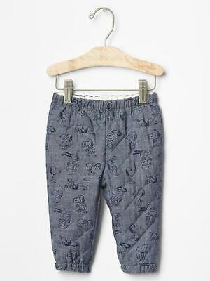 Baby Gap NWT Peanuts Snoopy Blue Quilted Chambray Pants 0-3 3-6 6-12 $30