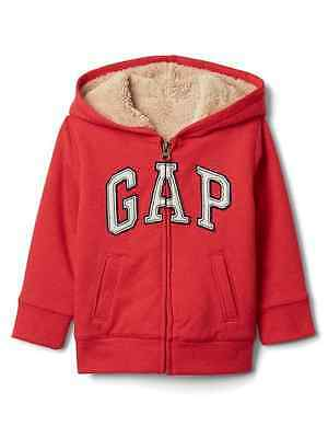 NWT Baby Gap Boys 12 18 24 Months or 2t Red Logo Sherpa Lined Hoodie Jacket