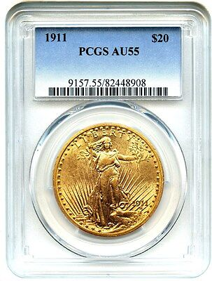 1911 $20 PCGS AU55 - Saint Gaudens Double Eagle - Gold Coin