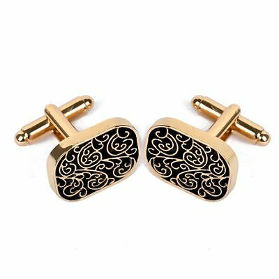 Gold 1 Pair Men's Jewelry Stainless Steel Flower Party Shirt Cufflinks Cuff Link
