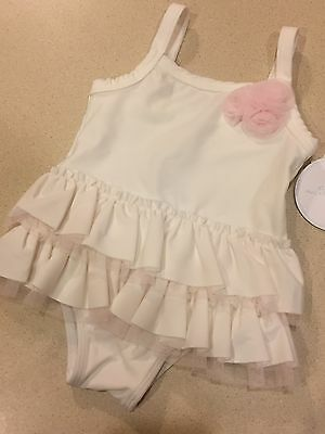 6M-9M Edgehill Collection Baby Infant Girl Ivory White One Piece Swimsuit NEW