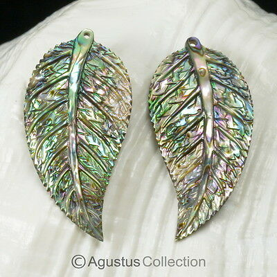 Multicolor PAUA ABALONE SHELL Iridescent Tropical Leaf Earring PAIR 3.05 g