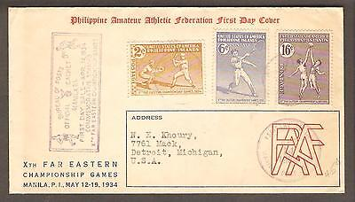 Philippines 14 April 1934 Registered FDC Cachet Cover, Manila to Detroit, USA