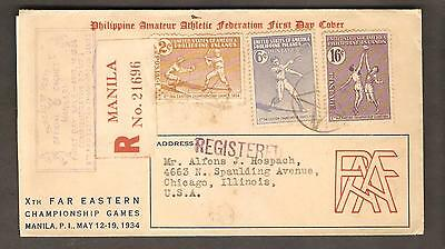 Philippines 14 April 1934 Registered FDC Cachet Cover, Manila to Chicago, USA