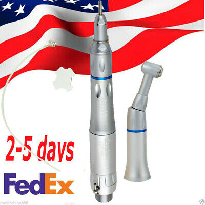 Dental Low Speed Handpiece Kit 2 Hole 2H Air Motor Straight Contra Angle Fit NSK