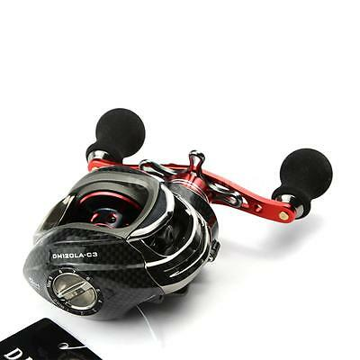 12BB 6.3:1 Ball Bearings Left Hand Bait Casting Fishing Reel High Speed Red R8P4