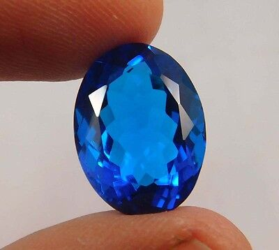 14 Cts. Treated Faceted Swiss Blue Topaz Quartz Loose Cabochon Gemstone (NC401)