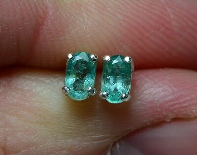 1/2 Carat Natural Genuine Emerald Stud Earrings 5x3mm Oval Cut Sterling Silver