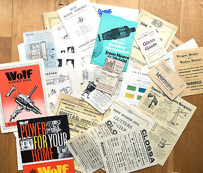 Lot of 30 hardware, tools catalogues, leaflets, etc 1880-1960s, engineering int