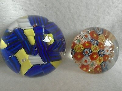 2 VINTAGE MILLEFIORI PAPERWEIGHTS BLUE & YELLOW and MULTI COLOURED VGC