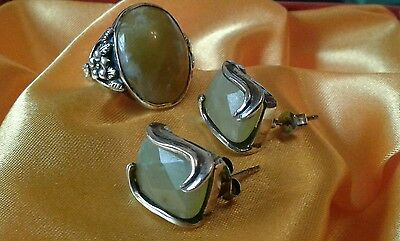 art deco solid silver and Irish  connemara ring and earrings size m