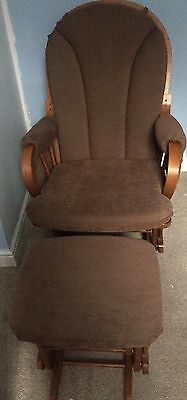 Brown Nursing Chair And Stool - Excellent Condition