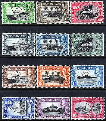 St Lucia, Set Of 12, Sg113 - 124, Used, 1936