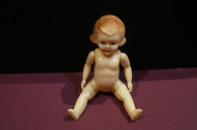 VINTAGE 1950s SMALL 9.5cm HARD PLASTIC DOLL - MADE IN HONG KONG