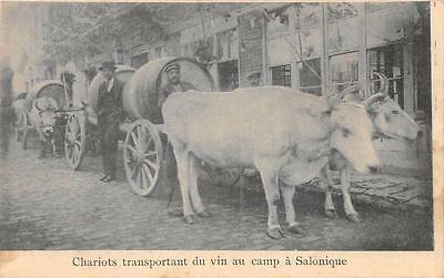 Cpa Grece Chariots Transportant Du Vin Au Camp A Salonique Attelages De Boeufs
