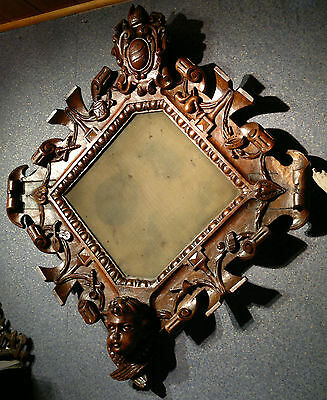 """Antique French Carved Walnut Religious Crucifix Frame Signed G.SEGAUD 26.5""""x 23"""""""