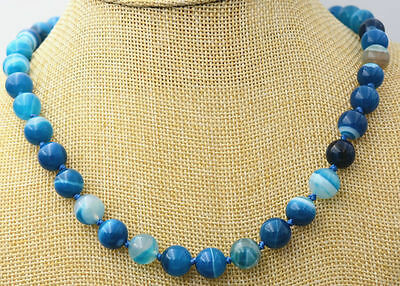 Natural 10MM ANTIQUE ART DECO GENUINE RARE BLUE CHALCEDONY AGATE BEADS NECKLACE