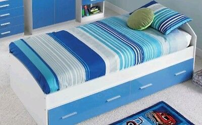 High gloss Boys/Kids blue single bed with drawers