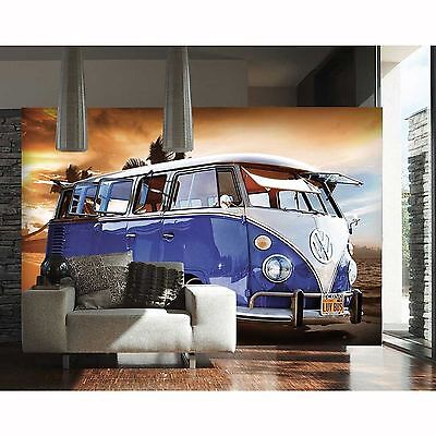Vw Campervan Blue Wall Mural 232Cm X 315Cm Feature Wall New Design Free P+P