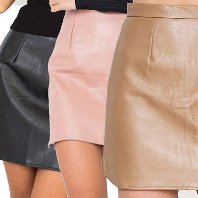 Trendy Women Bodycon Skirt PU Leather Mini Short Skirts Clothes Clubwear New